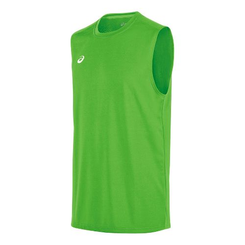Mens ASICS Circuit 8 Warm-Up Sleeveless & Tank Tops Technical Tops - Neon Green S ...