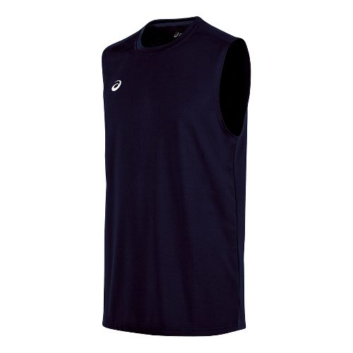 Mens ASICS Circuit 8 Warm-Up Sleeveless & Tank Tops Technical Tops - Navy S