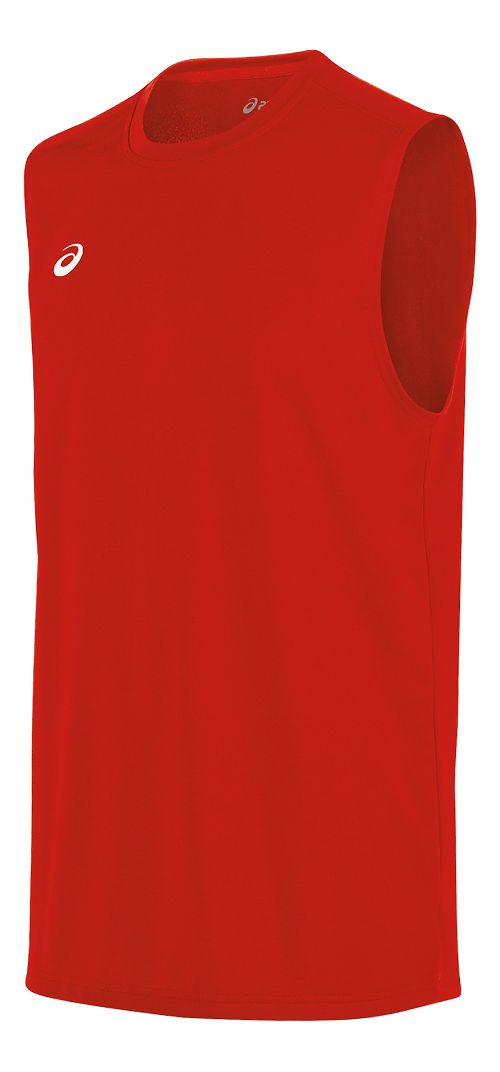 Mens ASICS Circuit 8 Warm-Up Sleeveless & Tank Tops Technical Tops - Red M
