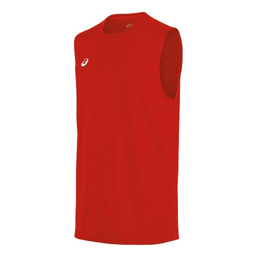 Mens ASICS Circuit 8 Warm-Up Sleeveless & Tank Tops Technical Tops - Red S