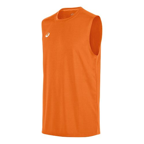 Mens ASICS Circuit 8 Warm-Up Sleeveless & Tank Tops Technical Tops - Neon Orange S ...