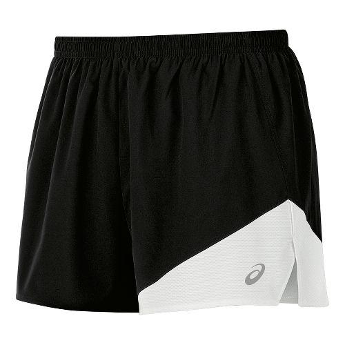 Mens ASICS Gunlap 1/2 Split Lined Shorts - Black/White M