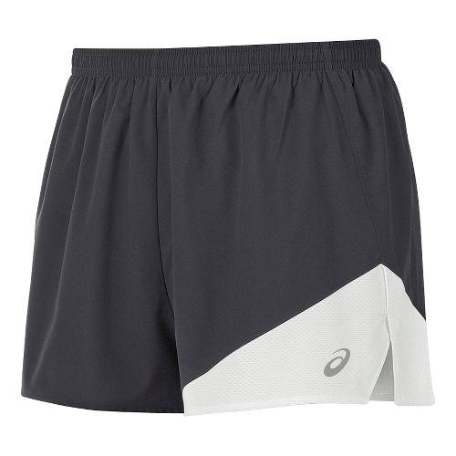 Mens ASICS Gunlap 1/2 Split Lined Shorts - Steel Grey/White S