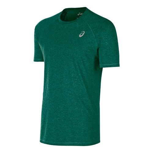 Mens ASICS TM Essential Tee Short Sleeve Technical Tops - Forest S