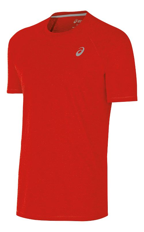 Mens ASICS TM Essential Tee Short Sleeve Technical Tops - Red S