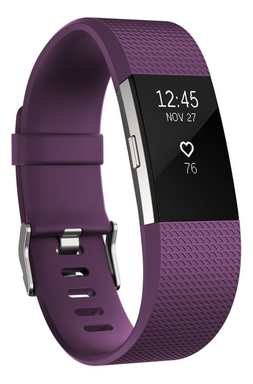 Fitbit Charge 2 Heart Rate + Fitness Wristband Monitors - Plum L