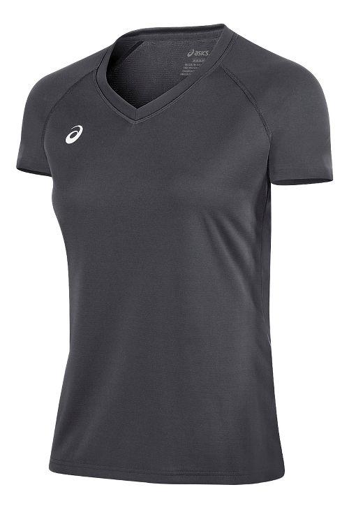 Womens ASICS Circuit 8 Warm-Up Shirt Short Sleeve Technical Tops - Steel Grey XS