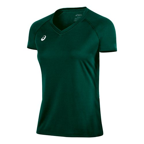 Womens ASICS Circuit 8 Warm-Up Shirt Short Sleeve Technical Tops - Forest L