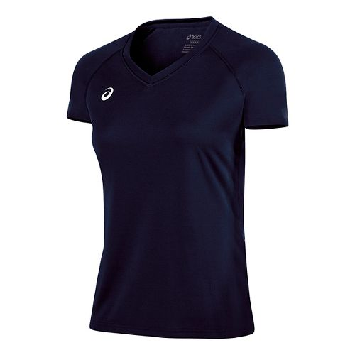 Womens ASICS Circuit 8 Warm-Up Shirt Short Sleeve Technical Tops - Navy XL