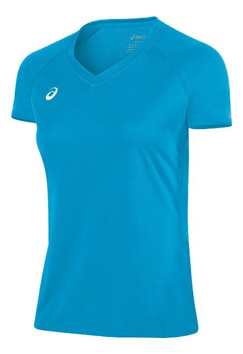Womens ASICS Circuit 8 Warm-Up Shirt Short Sleeve Technical Tops - Atomic Blue XL