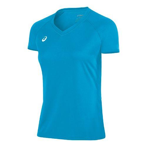 Womens ASICS Circuit 8 Warm-Up Shirt Short Sleeve Technical Tops - Atomic Blue S