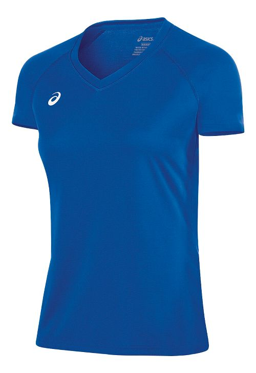 Womens ASICS Circuit 8 Warm-Up Shirt Short Sleeve Technical Tops - Royal S