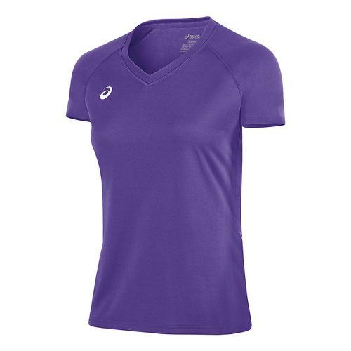 Womens ASICS Circuit 8 Warm-Up Shirt Short Sleeve Technical Tops - Purple XL