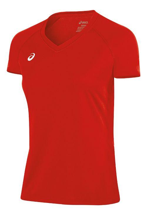 Womens ASICS Circuit 8 Warm-Up Shirt Short Sleeve Technical Tops - Red L