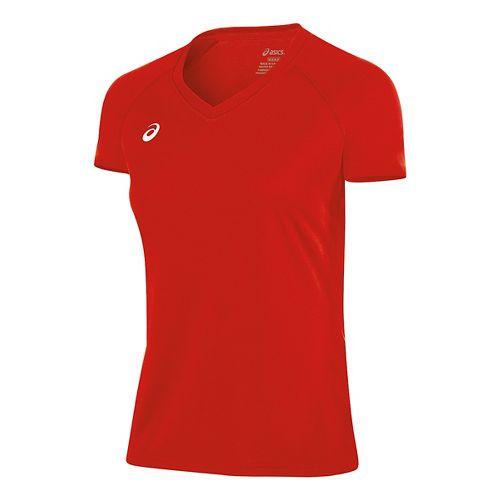 Womens ASICS Circuit 8 Warm-Up Shirt Short Sleeve Technical Tops - Red XL
