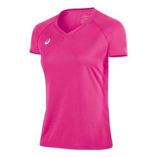 Womens ASICS Circuit 8 Warm-Up Shirt Short Sleeve Technical Tops - Pink Glo L