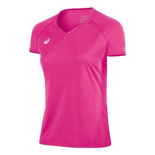 Womens ASICS Circuit 8 Warm-Up Shirt Short Sleeve Technical Tops - Pink Glo S