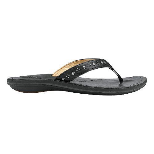 Womens Olukai Liko Sandals Shoe - Black/Black 9