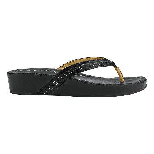 Womens Olukai Ola Sandals Shoe - Black/Black 8