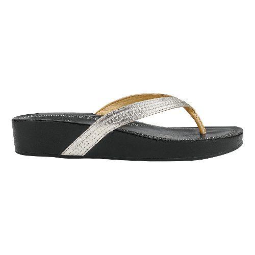 Womens Olukai Ola Sandals Shoe - Silver/Black 5