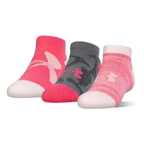 Under Armour Kids Next Statement No Show 3 pack Socks - Gala Pink M