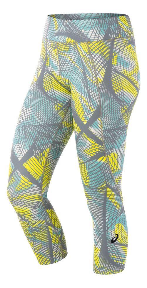 Womens ASICS Crop Tight Capris Pants - Sea Light Print S