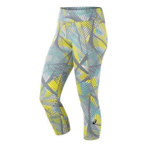 Womens ASICS Crop Tight Capris Pants - Sea Light Print L