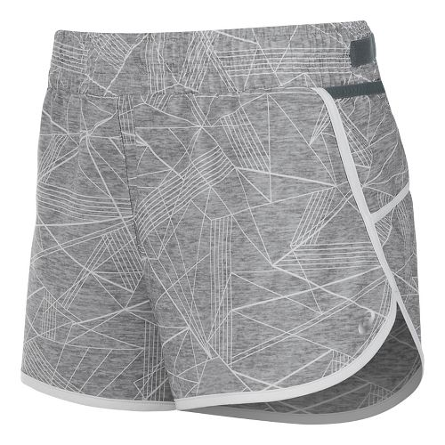 Womens ASICS Distance Lined Shorts - Grey Skyline Print L