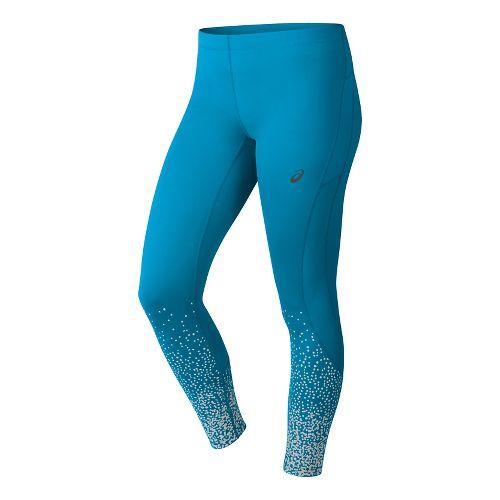 Womens ASICS Elite 7/8 Tights & Leggings Pants - Glitz Diva Blue XL