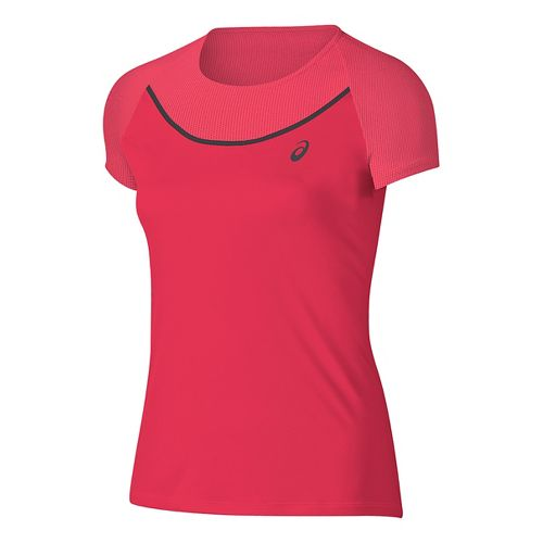 Womens ASICS Elite Tee Short Sleeve Technical Tops - Diva Pink L