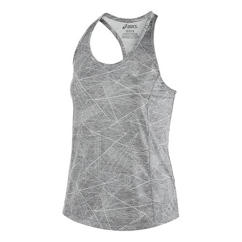 Womens ASICS Emma Racerback Sleeveless & Tank Tops Technical Tops - Grey Skyline Print M ...