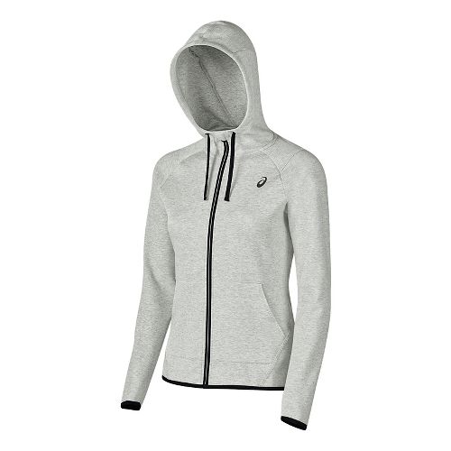 Womens ASICS Half-Zips & Hoodies Technical Tops - Light Grey Heather XS