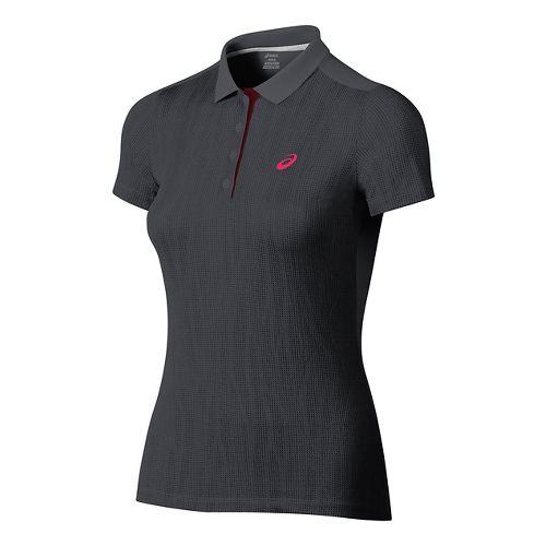 Womens ASICS GPX Polo Short Sleeve Technical Tops - Dark Grey M