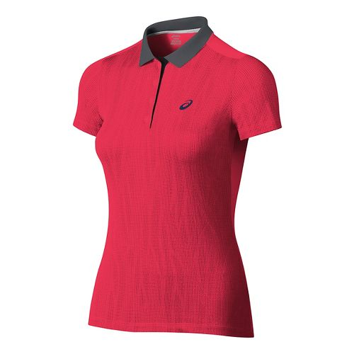 Womens ASICS GPX Polo Short Sleeve Technical Tops - Diva Pink M