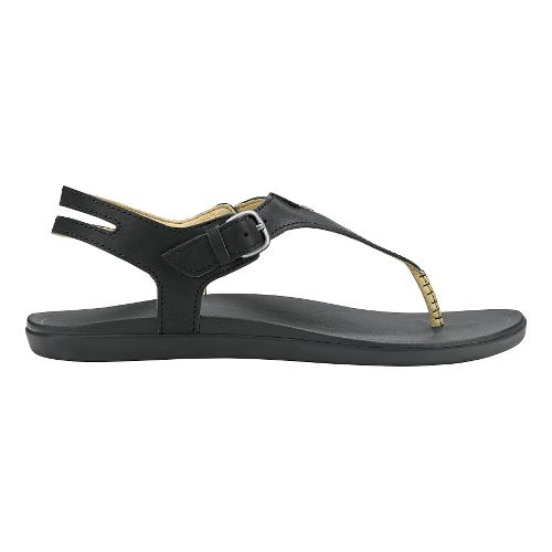 Womens Olukai Eheu Sandals Shoe - Black/Black 5