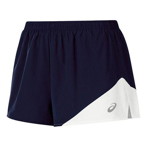 Womens ASICS Gunlap 1/2 Split Lined Shorts - Navy/White L