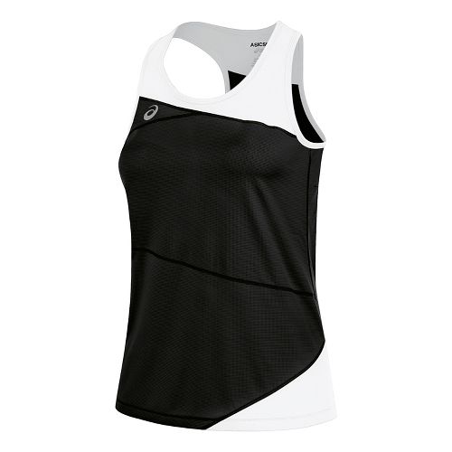 Womens ASICS Gunlap Singlet Sleeveless & Tank Tops Technical Tops - Black/White L