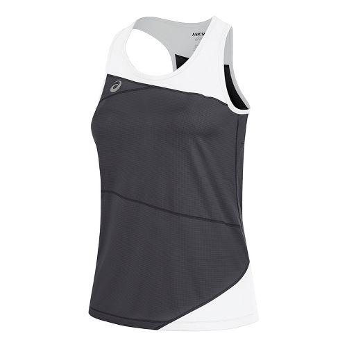 Womens ASICS Gunlap Singlet Sleeveless & Tank Tops Technical Tops - Steel Grey/White L