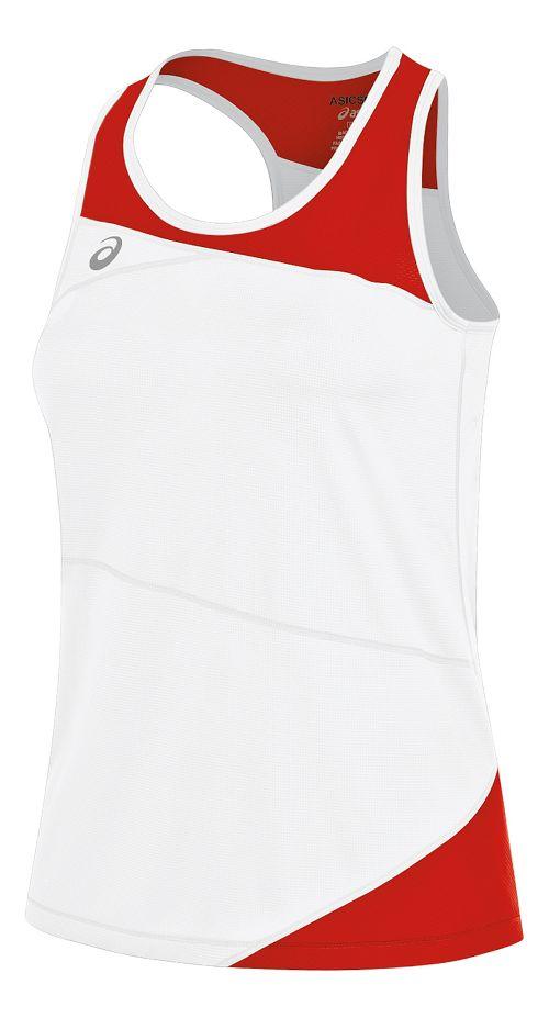 Womens ASICS Gunlap Singlet Sleeveless & Tank Tops Technical Tops - White/Red S