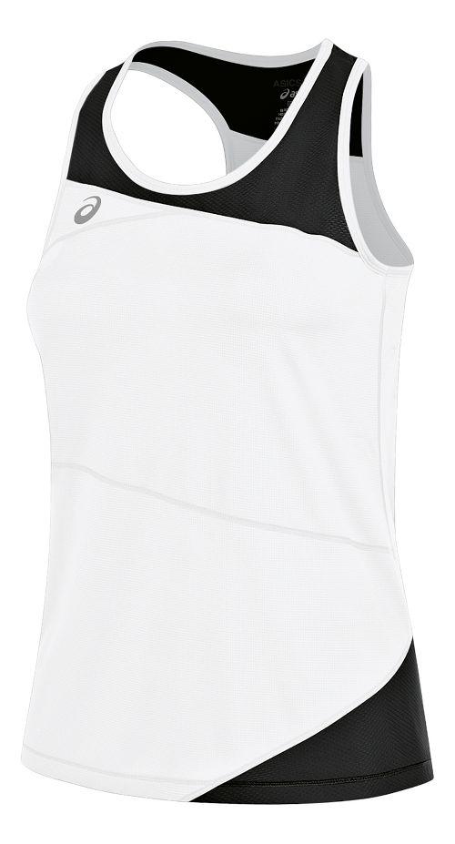 Womens ASICS Gunlap Singlet Sleeveless & Tank Tops Technical Tops - White/Black S