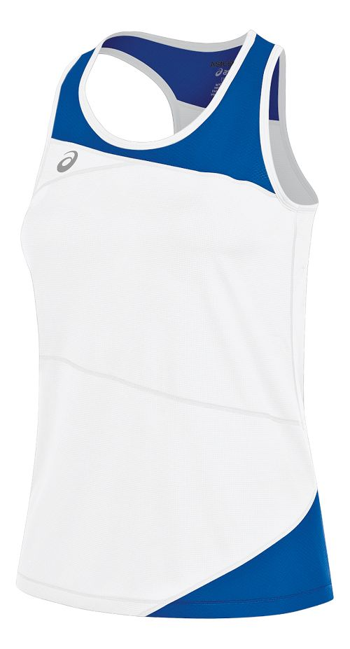Womens ASICS Gunlap Singlet Sleeveless & Tank Tops Technical Tops - White/Royal XS
