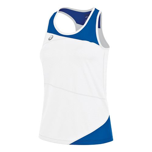 Womens ASICS Gunlap Singlet Sleeveless & Tank Tops Technical Tops - White/Royal M
