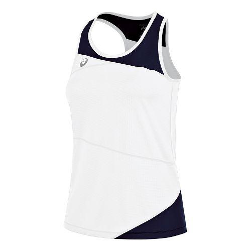 Womens ASICS Gunlap Singlet Sleeveless & Tank Tops Technical Tops - White/Navy M