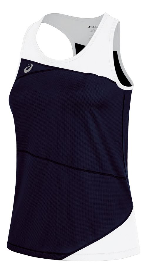 Womens ASICS Gunlap Singlet Sleeveless & Tank Tops Technical Tops - Navy/White XS