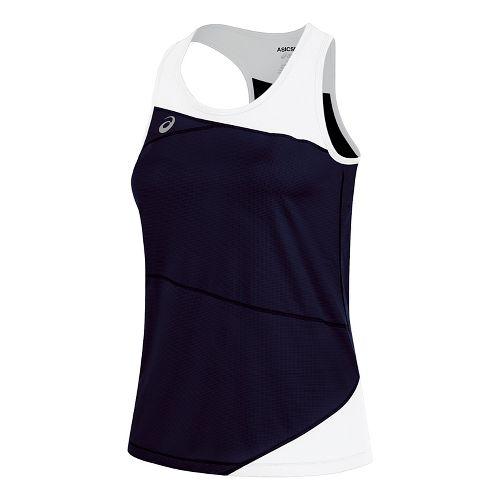 Womens ASICS Gunlap Singlet Sleeveless & Tank Tops Technical Tops - Navy/White XS