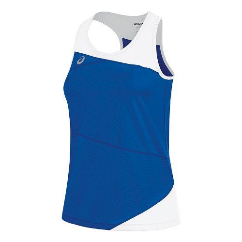 Womens ASICS Gunlap Singlet Sleeveless & Tank Tops Technical Tops - Royal/White S