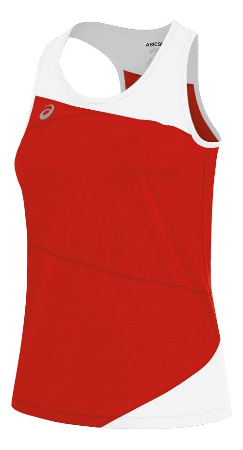 Womens ASICS Gunlap Singlet Sleeveless & Tank Tops Technical Tops - Red/White S
