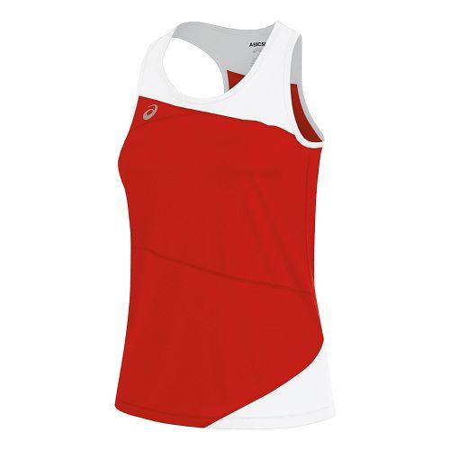 Womens ASICS Gunlap Singlet Sleeveless & Tank Tops Technical Tops - Red/White XS