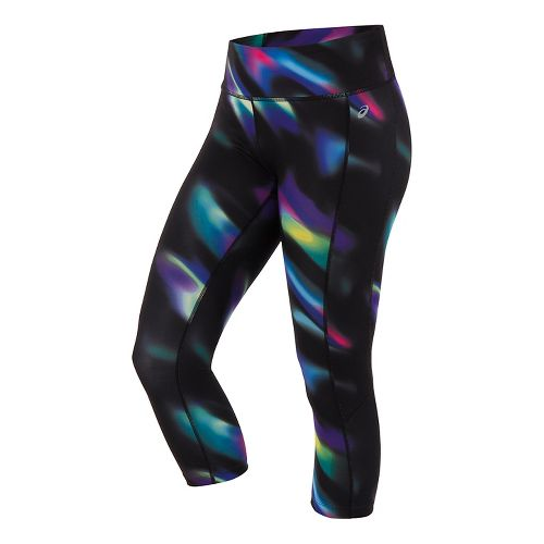 Womens ASICS Interval Capris Pants - Sea Wave Black L