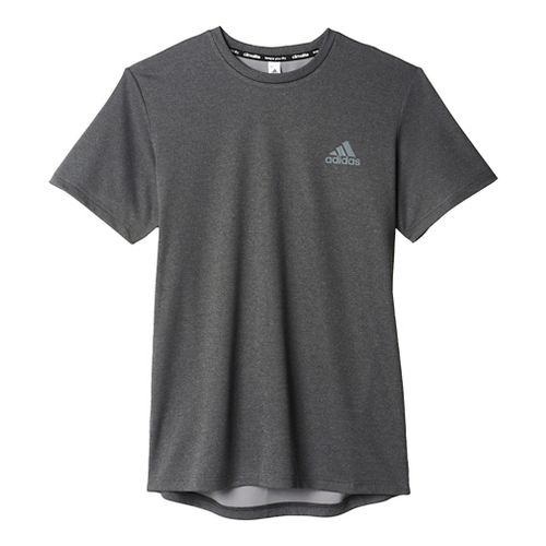 Mens Adidas Essential Tech Tee Short Sleeve Technical Tops - Black/Grey S